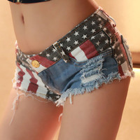 Jeans Shorts with US Flag 001