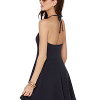 Halter Backless Strappy Dress A-Line Mini Skater Dress