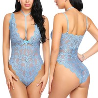 Sexy Lingerie Bodysuit Lace One Piece Babydoll Halter Teddy Lingerie S-XXL