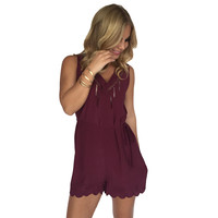 Natalia Scallop Embroider Romper In Wine