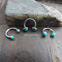 16g Turquoise Septum Nose Ring 5/16″ Daith Piercing Internal Tragus Green Stones Body Jewelry Helix Piercings Conch Rook Horseshoe Earrings