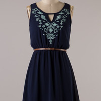 Aim to Please Embroidered Dress - Navy