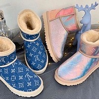 LV Louis Vuitton Ugg New Gradient Printed Couple Mid-cut Boots Shoes