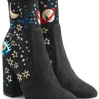 Valentino - Printed Suede Ankle Boots