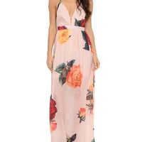 Peach Floral Sleeveless Chiffon Maxi Dress