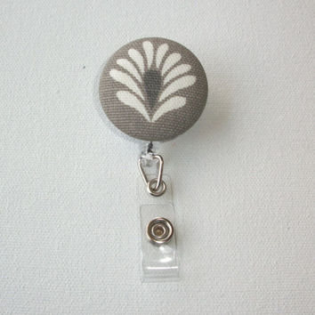 Retractable ID Badge Holder Reel  - Fabric Button -  Steel Gray flower