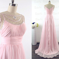Baby Pink Prom Dresses, Custom Straps Pink Chiffon Formal Dresses, Long Pink Prom Gown, Crystal Straps Wedding Party Dresses