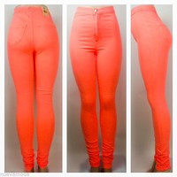 High Waist Neon Melon Skinny Jean Pants NEW Spring Color!