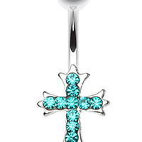 Cross Sparkle Belly Button Ring