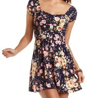 Floral Print Skater Dress by Charlotte Russe - Navy Combo