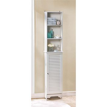 White Slatted Tall Storage Cabinet