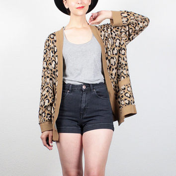 Vintage 80s Sweater Tan Black Leopard Print Sweater Knit Jacket 1980s Sweater New Wave Jumper Cheetah Cardigan Animal Print M Medium L Large