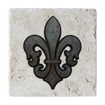 Fleur de Lis Marble Trivet or Travertine Trivet