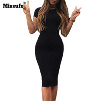 Office Vintage Workwear Classical Knee Length Pencil Tunic 2017 Summer Style Slim Evening Party Bandage Bodycon Women's Dresses
