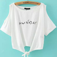 White Shoulder Cutout Letters Print Knotted Short Sleeve T-Shirt