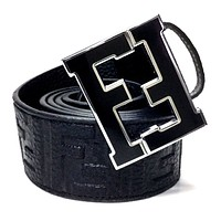 Fendi Belt | Size 36 or 90 cm | Black Leather | Black Buckle | FF Zucca