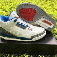 Air Jordan 3 nike logo white blue  Basketball Shoes 40-47