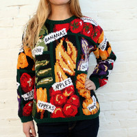 Vintage 80s 90s NOVELTY Sweater S M L - HAND KNIT - Natural Ramie/Cotton - Vegetables - Fruits - Wear it to the Farmers Market