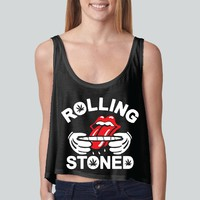Rolling Stones girly boxy tank top Funny and Music