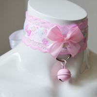 Kitten play collar - Pink bloom - ddlg princess bdsm proof fairy kei kawaii cute neko lolita pet - bdsm proof gear - with bell - nekollars