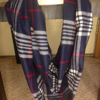Women's-Plaid Infinity Scarf-Flannel Scarf-Navy Scarf-Handmade-Scarf-Winter Scarf-Chunky Scarf-Accessories-Gifts for Her