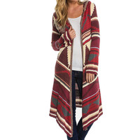 Feitong Autumn Winter Women Knitted Geometric Printed Kimono Cardigan Long Sleeve Hooded Long Coat Cover up Tops Outwear 2016