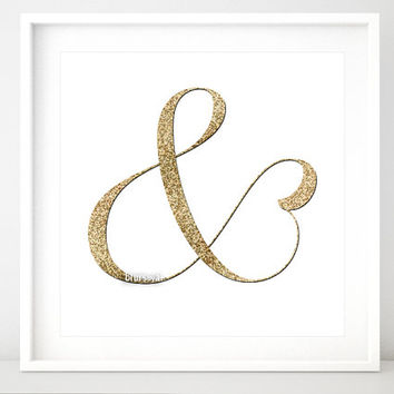 "Glitter ampersand print, & gold glitter art print, ""and"" symbol printable, trendy typography gold wall art, gold ampersand, gold sign gp014b"