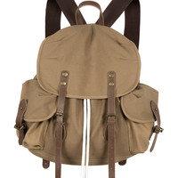 Khaki Drawstring Fastening Canvas Backpack