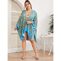 Plus Tribal Print High-Low Hem Kimono