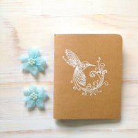 Notebook: Hummingbird, Bird, White, Embossed, Unique, Christmas, Stocking Stuffer, Gift, Wedding, Jotter, Small Notebook, For Her, For Him