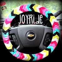 Steering Wheel Cover Chevron Bright Hot Pink Teal Lime Black Summer Trend
