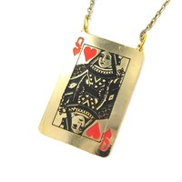 Queen of Hearts Playing Card Shaped Pendant Necklace   Limited Edition