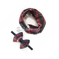 Toddler Photo Prop, Baby Tube Scarf, Baby Infinity Scarf Cream & Red Plaid, Baby Plaid Scarf,  Childrens Scarves, Scarves for Babies,