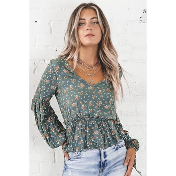 Flower You Doing Green Floral Top