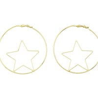 Fashion Gold Color Star Shape Big Hoop Earrings