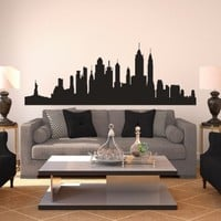 New York Skyline Silhouette - Vinyl Wall Art Decal for Homes, Offices, Kids Rooms, Nurseries, Schools, High Schools, Colleges, Universities, Events