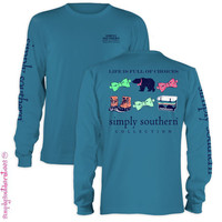 NEW Simply Southern Life Is Full Of Choices Bow Polar Bear Girlie Bright Long Sleeve T Shirt