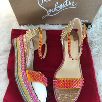 Christian Louboutin Madmonica 60 Spiked Espadrille Sandals 38
