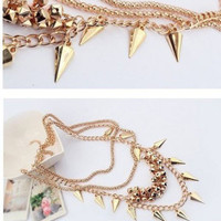 Chunky Gold Tone Multilayer Spike Rivet Tassel Chain Bib Statement Necklace Punk