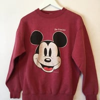 Vintage 90s DISNEY MICKEY MOUSE Red Crew Neck Sweatshirt Size Medium