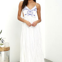 Something to Sprout About Ivory Embroidered Maxi Dress