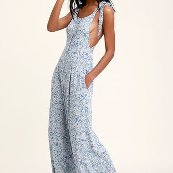 Sugar Sands Blue Print Wide-Leg Overalls