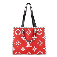 LV hot seller of fashionable printed patchwork color casual shopping shoulder bag for ladies Red