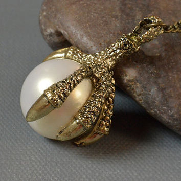 Bronze Dragon Claw White Pearl Sphere Bead Pendant Long Chain Necklace