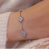 Van Cleef & Arpels New fashion more diamond four-leaf clover bracelet women jewelry Silver