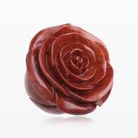 zzz-A Pair of Rosebud Full Bloom Sabo Wood Double Flared Plug
