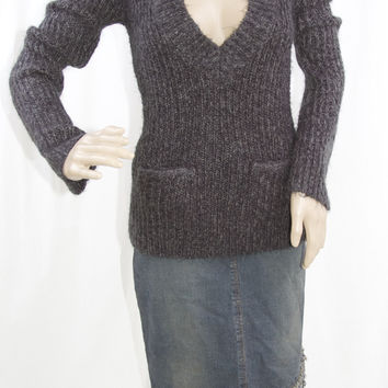 Vintage Deep V Charcoal Sweater