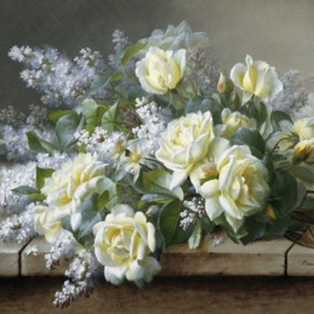 A Still Life with Yellow Roses Stretched Canvas Print by Raoul De Longpre at Art.com