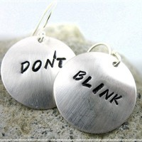 Sterling Silver Doctor Who Inspired Earrings - Don't Blink - Handcrafted, Hand Stamped Jewelry:Amazon:Everything Else