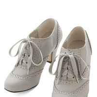 Vintage Inspired Dance Instead of Walking Heel in Grey